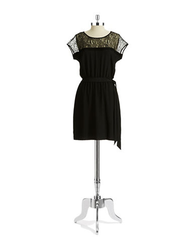 GUESS Illusion Neck Fit and Flare Dress