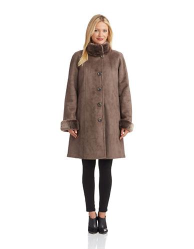 PORTRAITFaux Fur Lined Suede Coat