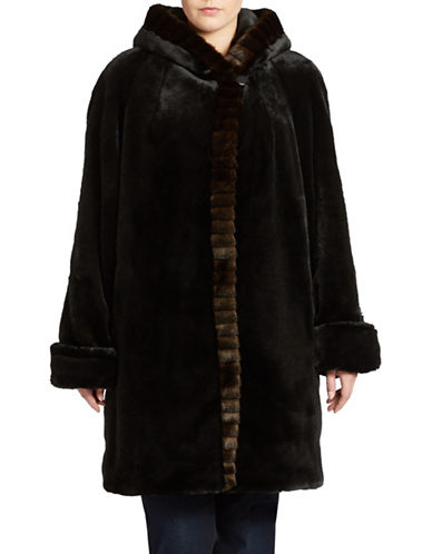 Portrait Plus Faux Fur Hooded Walker Coat