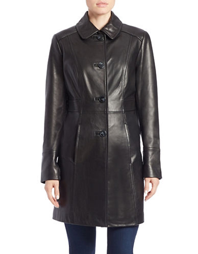 GALLERYSingle-Breasted Leather Coat