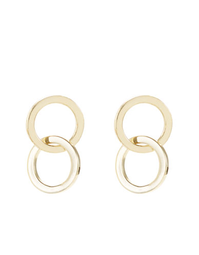 LORD & TAYLOR18 Kt Gold Over Sterling Silver Interlocking Hoop Stud Earrings