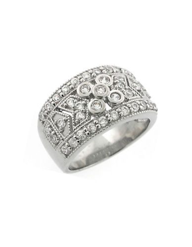 LORD & TAYLOR Sterling Silver Ring with Cubic Zirconia Embellishments