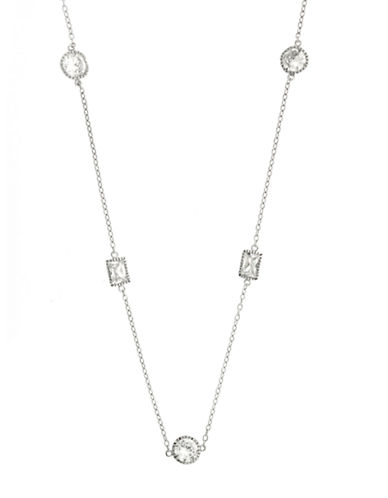 LORD & TAYLORSterling Silver Chain Necklace with Cubic Zirconia Stone Embellishments