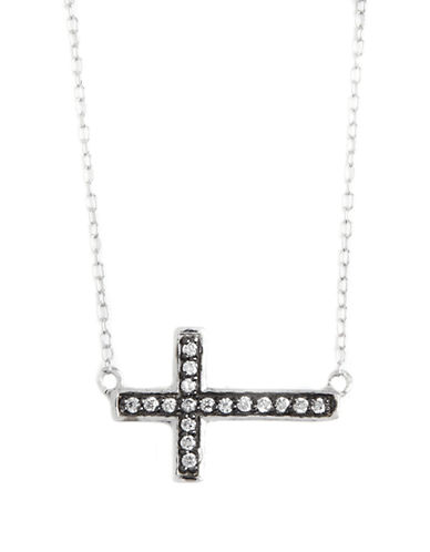 LORD & TAYLOR Sterling Silver and Cubic Zirconia Sideways Cross Pendant Necklace