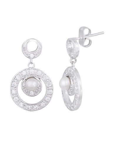 LORD & TAYLOR Sterling Silver and Cubic Zirconia Drop Earrings with Pearls