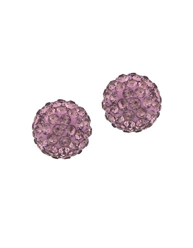 LORD & TAYLOR Lavender Sterling Silver and Crystal Ball Stud Earrings