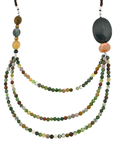 LORD & TAYLOR Multi-Earth Tone Three-Row Bead Necklace