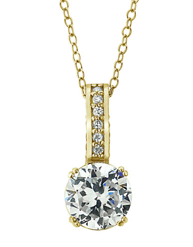 LORD & TAYLOR18Kt Gold and Cubic Zirconia Solitaire Pendant Necklace