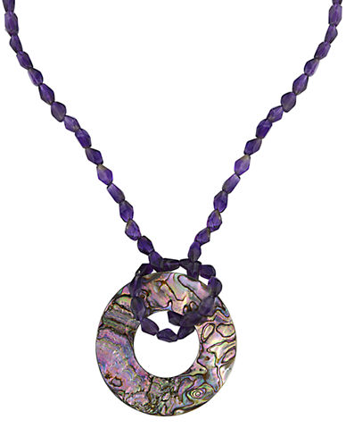 LORD & TAYLOR Amethyst Bead Necklace with Abalone Disc Pendant