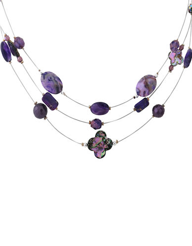 LORD & TAYLOR Sterling Silver and Amethyst Three Row Necklace