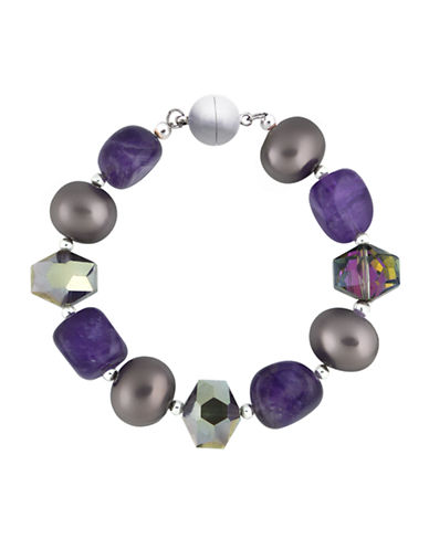 LORD & TAYLOR Sterling Silver Amethyst and Crystal Bracelet