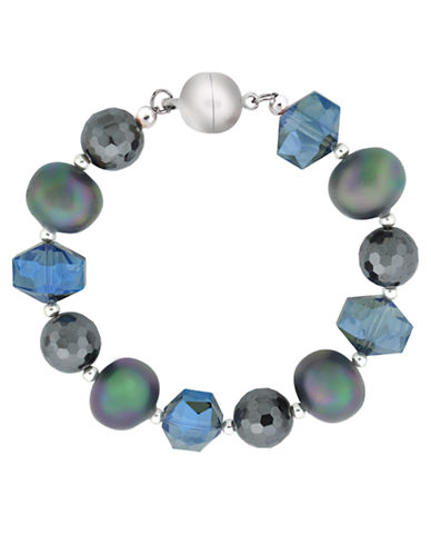 LORD & TAYLOR Sterling Silver Bracelet with Mixed Blue Beads and Quartz