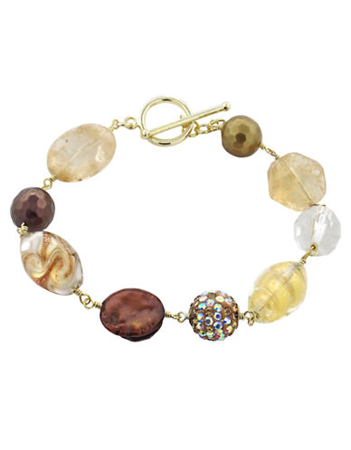LORD & TAYLOR18K Gold and Mixed Stone Bracelet
