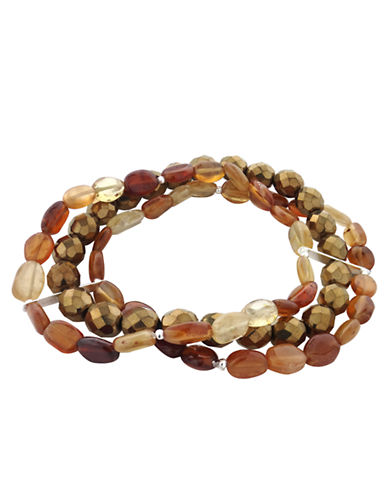 LORD & TAYLOR Hessonite and Mixed Bead Layered Bracelet