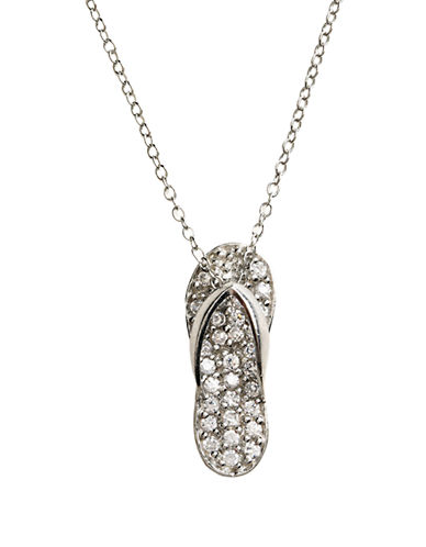 LORD & TAYLOR Sterling Silver Pave Flip Flop Pendant Necklace
