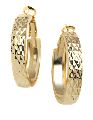 LORD & TAYLOR18 Kt Gold Plated Engraved Wide Hoop Earrings