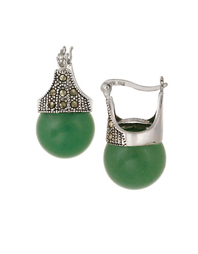 DESIGNS Sterling Silver and Marcasite Green Aventurine Drop Earrings