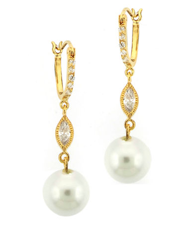 LORD & TAYLOR Gold Plated Sterling Silver Cubic Zirconia and Faux Pearl Drop Earrings