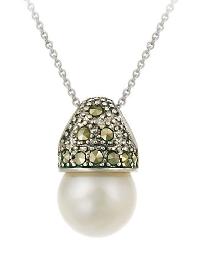 DESIGNSSterling Silver and Marcasite Faux Pearl Pendant Necklace