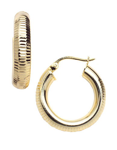 LORD & TAYLOR18-Kt Gold Over Sterling Silver Ribbed Hoop Earrings