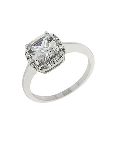 LORD & TAYLORSquare Cubic Zirconia Ring with Pavé Frame