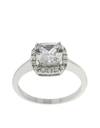 LORD & TAYLOR Square Cubic Zirconia Ring with Pavé Frame
