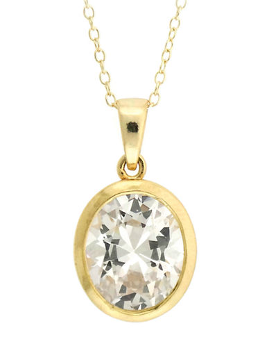 LORD & TAYLOR Gold Over Sterling Silver and Cubic Zirconia Drop Oval Pendant Necklace