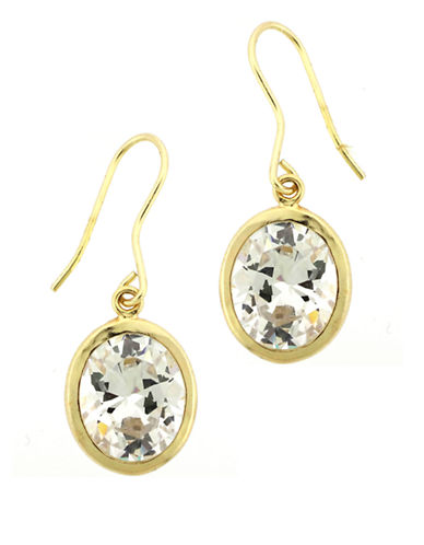 LORD & TAYLOR Gold Plated-Sterling Silver Drop Earrings with Cubic Zirconia Stones