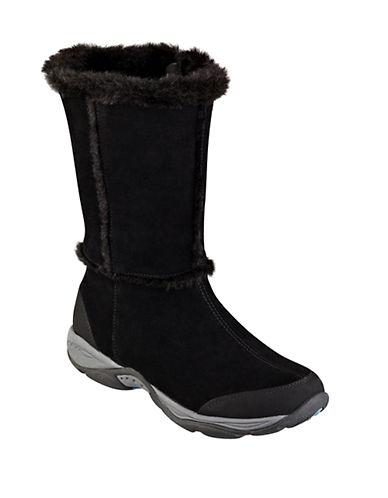 EASY SPIRITElk Faux Fur-Trimmed Suede Boots