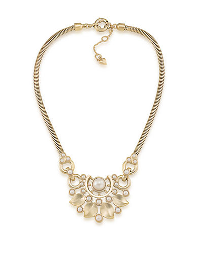 CAROLEEOyster Bay White Faux Pearl Half Moon Statement Necklace