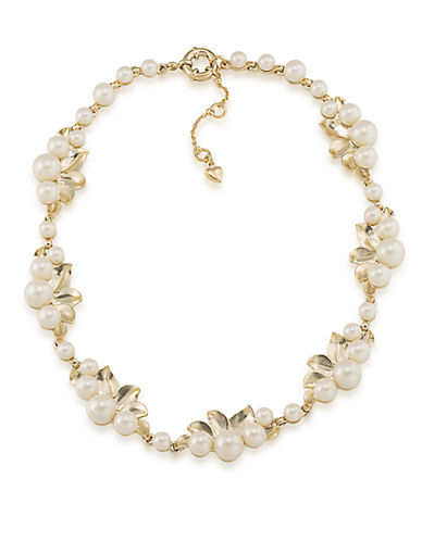CAROLEEOyster Bay White Faux Pearl and Leaf Collar Necklace