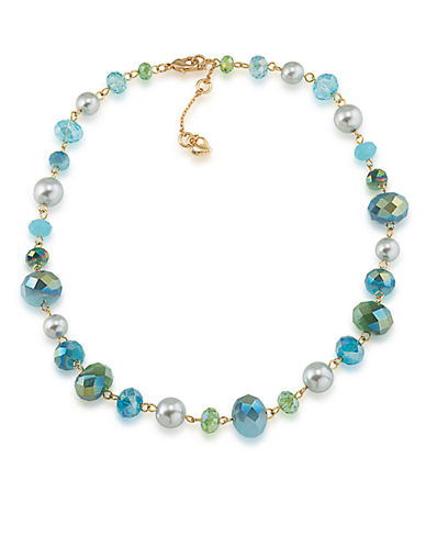 CAROLEE Niagara Mist Bead and Faux Pearl Collar Necklace