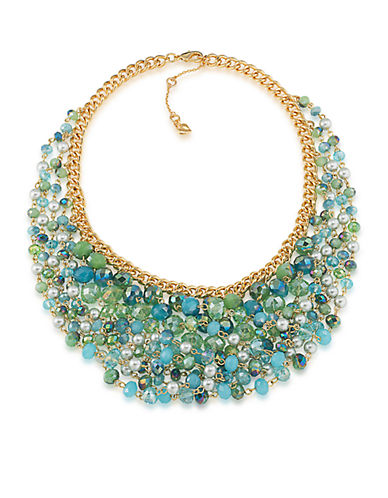 CAROLEE Niagara Mist Bead and Faux Pearl Bib Necklace