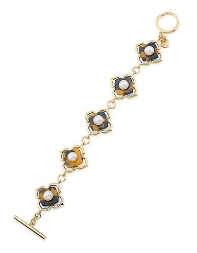 CAROLEEFashion Avenue Faux Pearl Floral Toggle Bracelet
