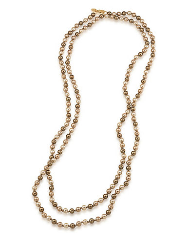 Carolee Rainbow Room Earthy Faux Pearl Rope Necklace