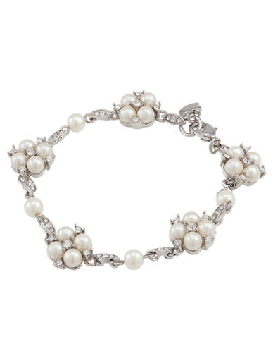 CAROLEE The Daisy Floral Motif Pearl and Crystal Bracelet