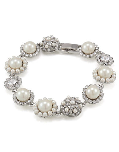 CAROLEE Silver Tone Faux Pearl and Crystal Bracelet