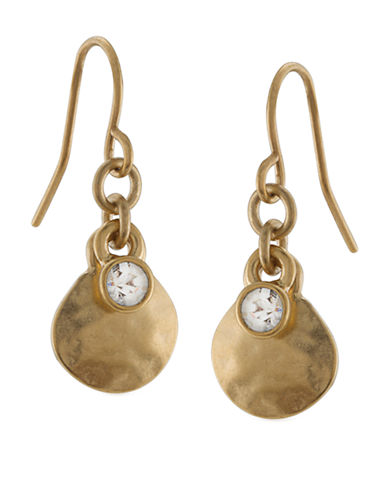 LAUREN RALPH LAURENGold-Tone Hammered Drop Earrings with Crystal Accent