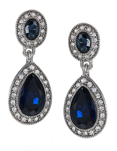 CAROLEE Blue Crystal Double-Drop Earrings