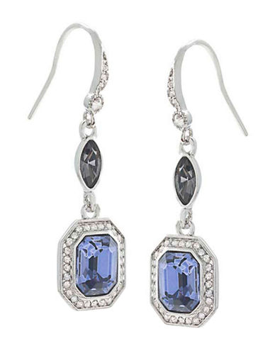 CAROLEE Silver-Tone Blue Crystal Drop Earrings