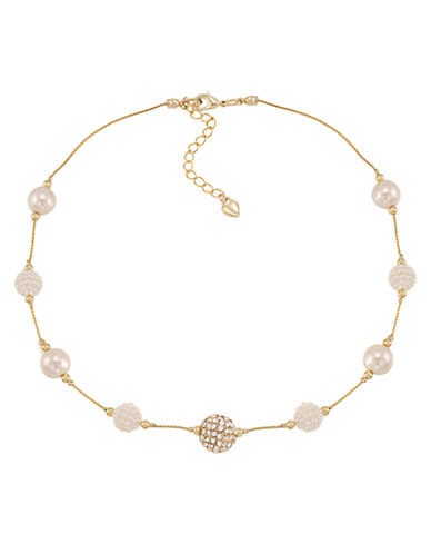 Carolee Glass Stone and Pave Pearl Necklace