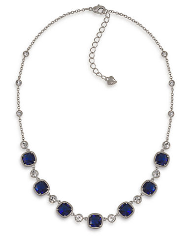CAROLEE Uptown Recolor Blue Stone Necklace with Crystal Accents