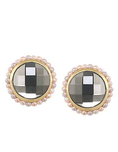 CAROLEEMaking Me Blush Pearl and Crystal Button Earrings