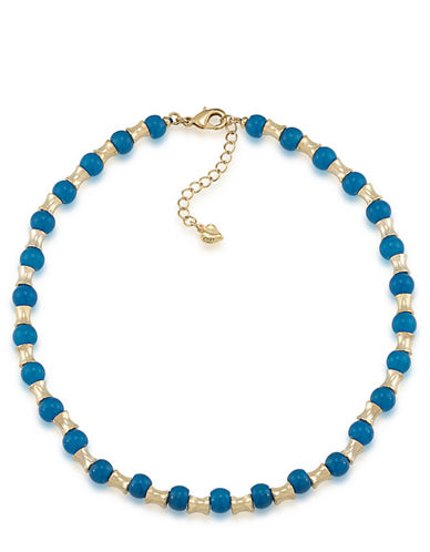 CAROLEE Gypsy Traveler Gold Tone and Blue Jade Necklace