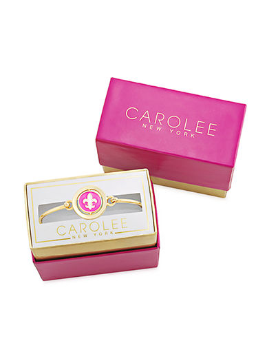 CAROLEE Word Play Gold Tone Reversible Charm Bangle Bracelet