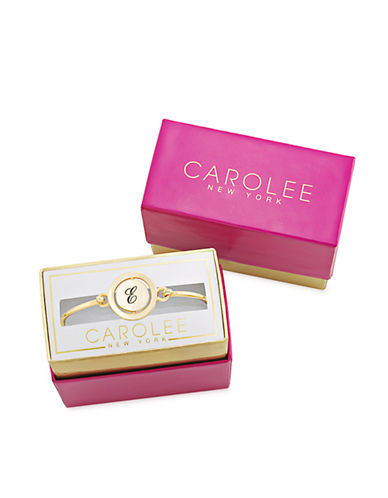 CAROLEEWord Play E Gold Tone Bangle Bracelet