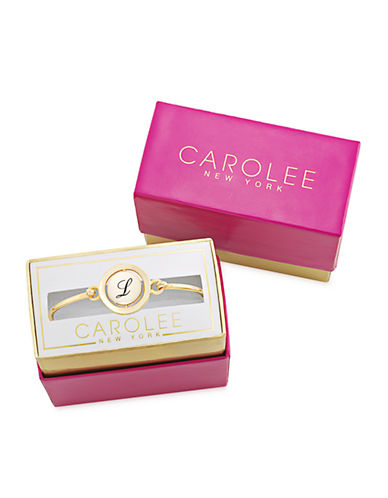 CAROLEEWord Play L Gold Tone Bangle Bracelet
