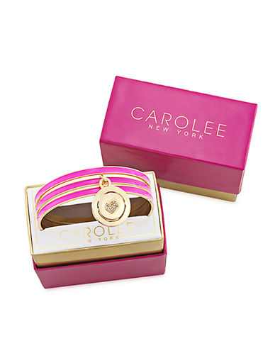 CAROLEE Word Play Gold Tone and Magenta Reversible Charm Bangle Bracelet Set