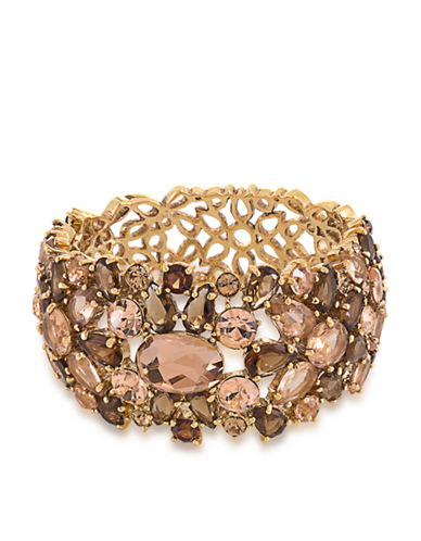 CAROLEEGold-Tone and Multi-Color Mosaic Stone Bangle Bracelet