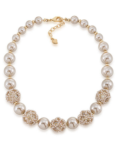Carolee Champagne Bubbles Pearl and Bead Necklace